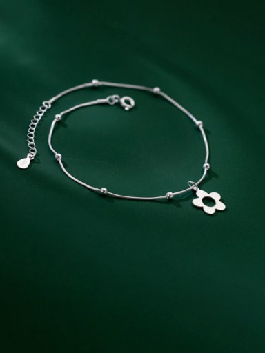 925 Sterling Silver Hollow Flower Minimalist Anklet