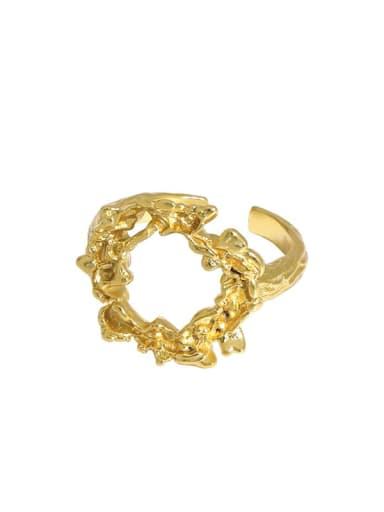 Gold [15 adjustable] 925 Sterling Silver Hollow Irregular Vintage Band Ring