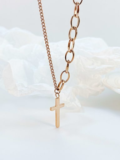 Titanium Steel Cross Hip Hop Regligious Necklace