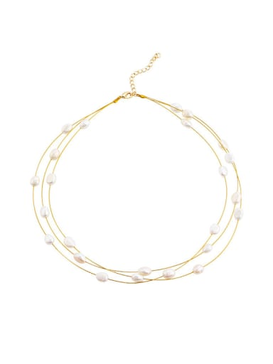 Brass Freshwater Pearl Round Minimalist Multi Strand Necklace