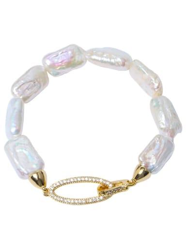 Brass Freshwater Pearl Geometric Minimalist Woven Bracelet