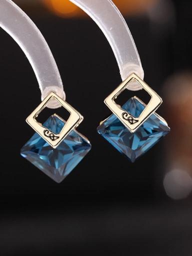 Brass Crystal Geometric Luxury Drop Earring