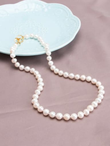Brass Freshwater Pearl Round Minimalist Long Strand Necklace