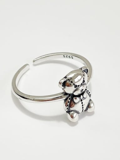 925 Sterling Silver Bear Vintage Band Ring