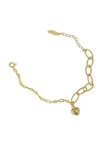 golden 925 Sterling Silver Heart Vintage Link Bracelet