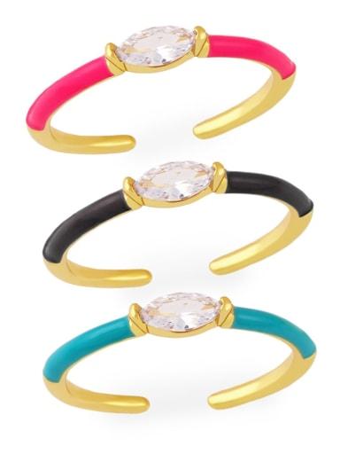 Brass Enamel Cubic Zirconia Geometric Minimalist Band Ring