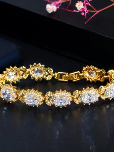 white Copper Cubic Zirconia Flower Luxury Bracelet