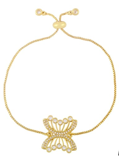 Brass Cubic Zirconia Butterfly Hip Hop Adjustable Bracelet