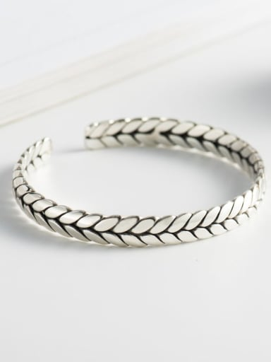 925 Sterling Silver Twist Geometric Vintage Cuff Bangle