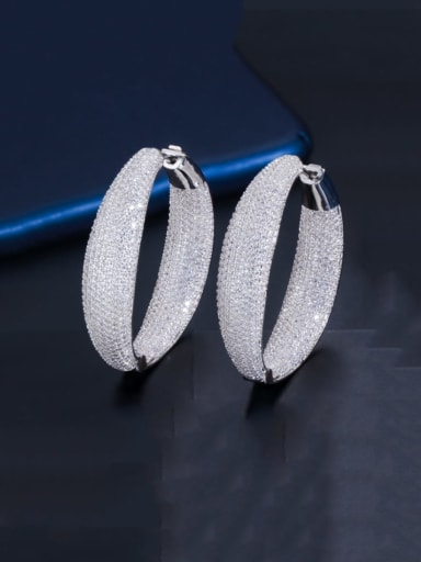 Platinum Brass Cubic Zirconia Round Luxury Cluster Earring