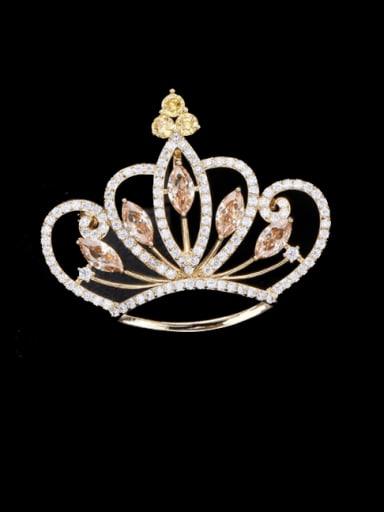Golden +yellow Brass Cubic Zirconia Crown Statement Brooch