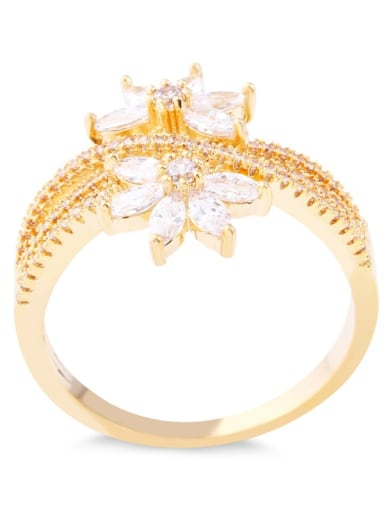 golden Brass Cubic Zirconia Flower Luxury Band Ring