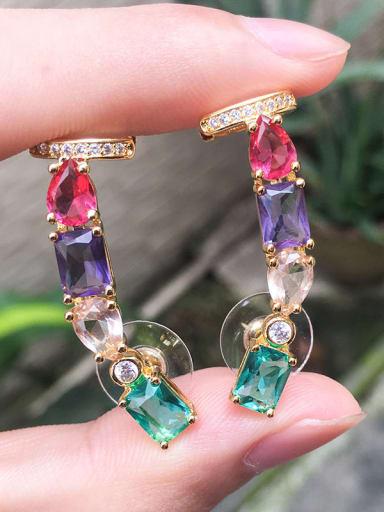 Gold Copper Glass Stone  Geometric Vintage Ear Cuff Earring