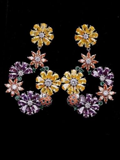 colour Brass Cubic Zirconia Flower Bohemia Drop Earring