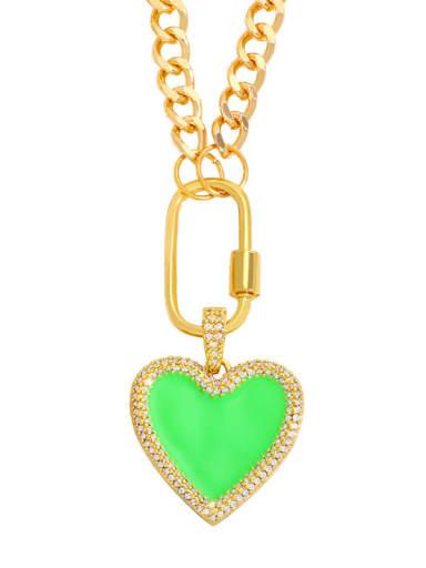 green Brass Enamel Heart Minimalist Necklace