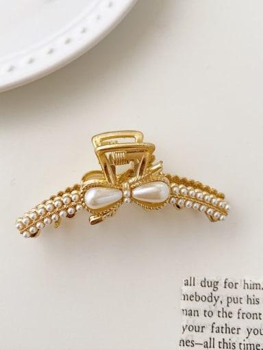 Arc bow pearl 6cm*2.5cm Alloy Imitation Pearl Minimalist Geometric  Jaw Hair Claw