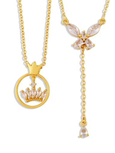 Brass Cubic Zirconia Crown Butterfly Hip Hop Tassel Necklace