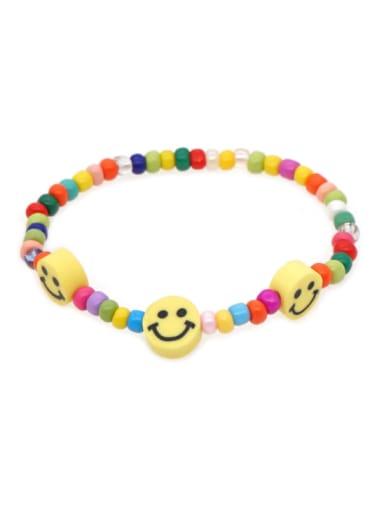 GZ B200013A Stainless steel  Glass Bead Multi Color Smiley Bohemia Stretch Bracelet