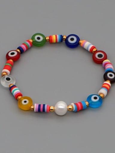 Stainless steel Glass Bead Multi Color Evil Eye Bohemia Handmade Weave Bracelet