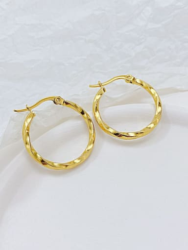 702 gold plated earrings Titanium Steel Round Minimalist Hoop Earring
