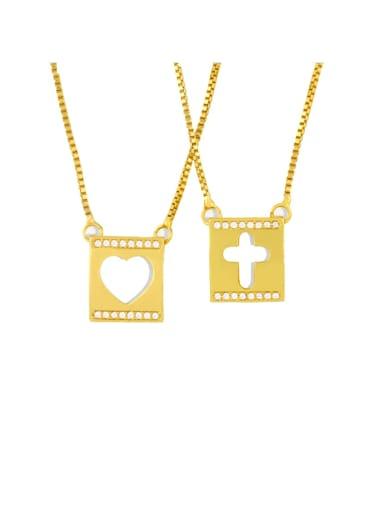 Copper Rhinestone Heart Minimalist  Cross Pendant Necklace