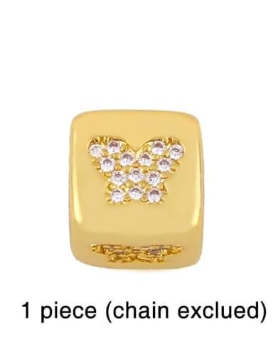 butterfly Brass Cubic Zirconia square Letter Minimalist Adjustable Bracelet