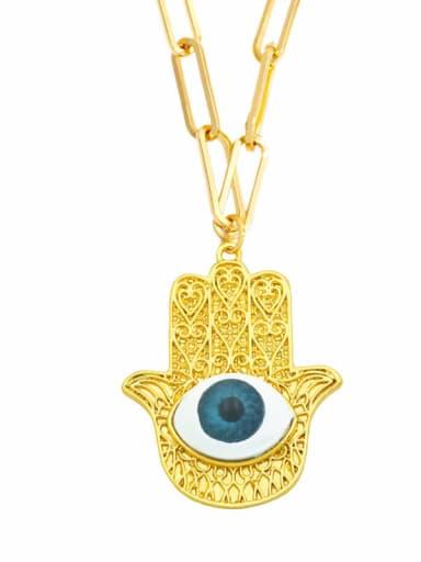 E (blue) Brass Cubic Zirconia Evil Eye Vintage Necklace