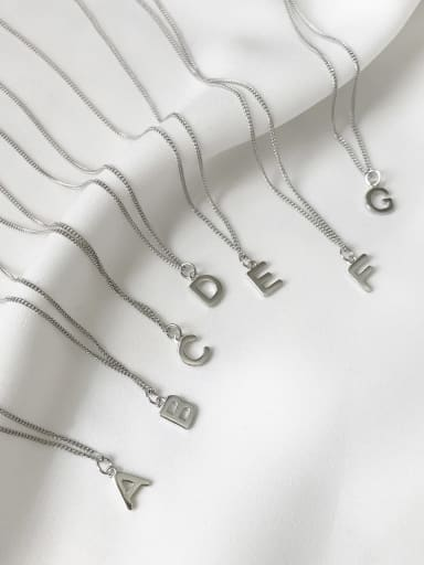 925 Sterling Silver Letter Minimalist Initials Necklace