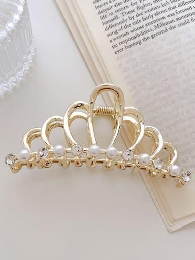 Crown Pearl Rhinestone 9.3cm Alloy Imitation Pearl Minimalist Crown Jaw Hair Claw
