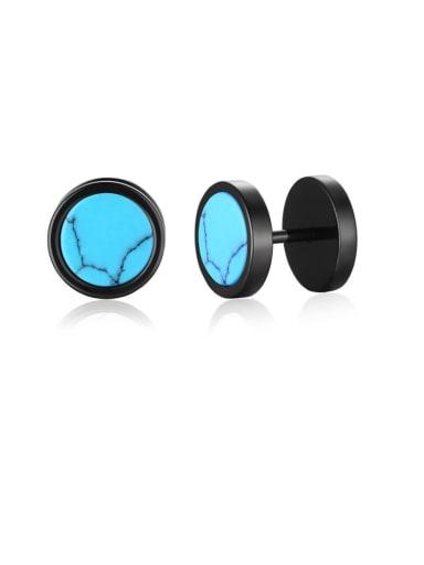 Turquoise Titanium Steel Turquoise Geometric Hip Hop Stud Earring