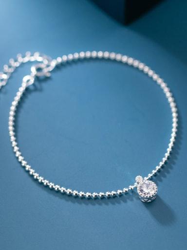 925 Sterling Silver Cubic Zirconia Round Minimalist Beaded Bracelet