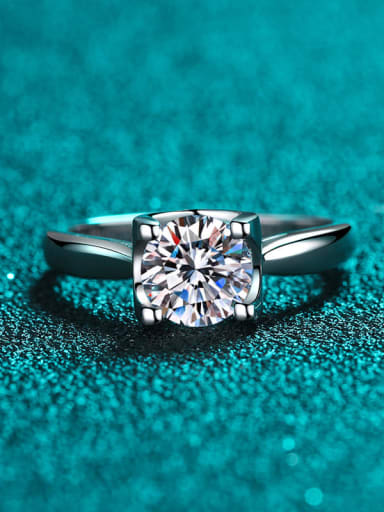 Sterling Silver Moissanite Square Dainty Solitaire Engagement Rings