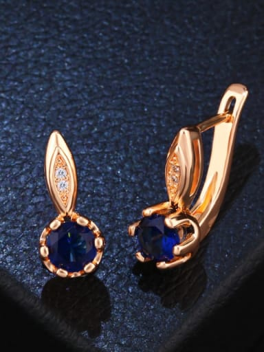 blue Alloy Glass Stone Geometric Dainty Stud Earring