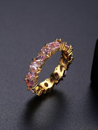 18K T17B21 Brass Cubic Zirconia Geometric Dainty Band Ring