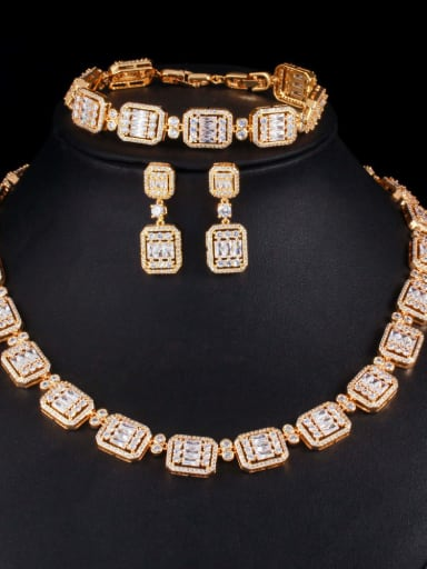 Brass  Cubic ZirconiaLuxury Geometric  Earring Braclete and Necklace Set