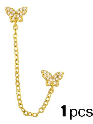 butterfly (single) Brass Cubic Zirconia Simple chain butterfly letters  Bohemia Stud Earring (single)