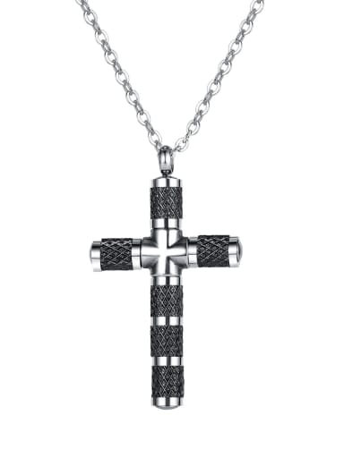 Titanium Steel Cubic Zirconia Cross Minimalist Necklace
