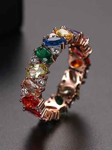 Rose Gold US 9 Copper Cubic Zirconia Multi Color Geometric Dainty Band Ring