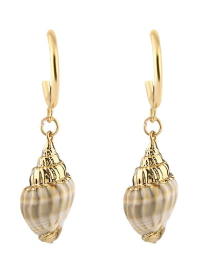 Brass Shell Irregular Bohemia Huggie Earring