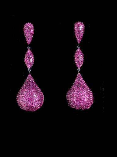 Black gold red Brass Cubic Zirconia Water Drop Statement  Three-color full diamond irregular long  Earring