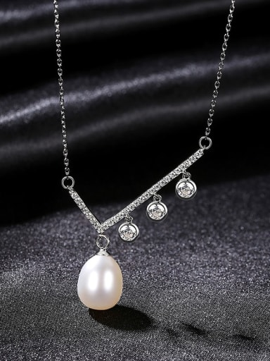 W 8E11 925 Sterling Silver Cubic Zirconia Irregular Dainty Necklace