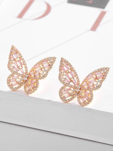 Gold Pink Diamond Brass Cubic Zirconia Butterfly Statement Stud Earring