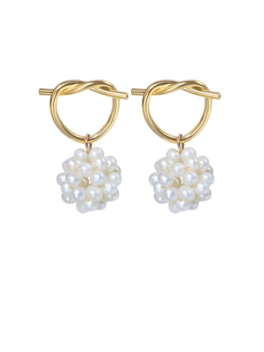 Brass Freshwater Pearl Bowknot Vintage Stud Earring