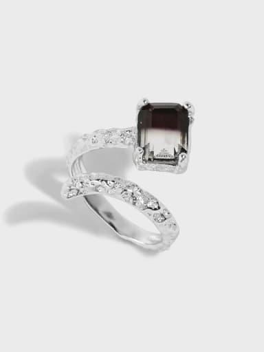 925 Sterling Silver Cubic Zirconia Irregular Vintage Band Ring