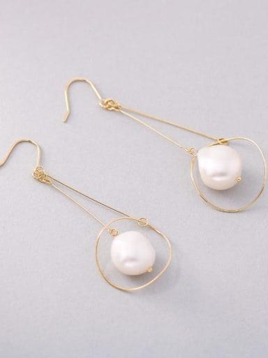 Gold 925 Sterling Silver Imitation Pearl Geometric Minimalist Hook Earring