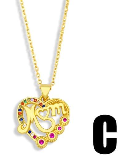 C Brass Cubic Zirconia Heart Minimalist Necklace