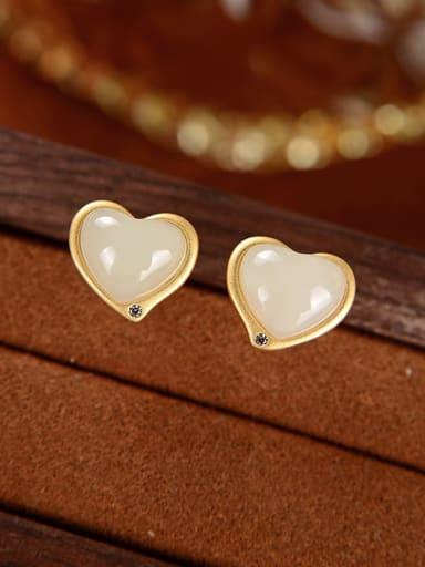 White jade (a pair) 925 Sterling Silver Jade Heart Vintage Stud Earring
