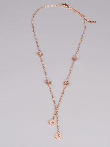 Titanium Steel Tassel Minimalist Lariat Necklace