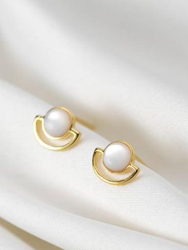 925 Sterling Silver Cats Eye Geometric Minimalist Stud Earring