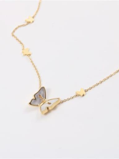 Titanium Steel Shell Butterfly Minimalist Necklace